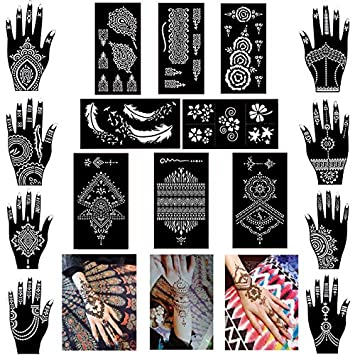 87ccdf3ad Amazon.com : Pack of 16 Sheets Henna Tattoo Stencil/Templates Temporary  Tattoo Kit, Indian Arabian Self Adhesive Tattoo Sticker for Hand Body Paint  : Beauty