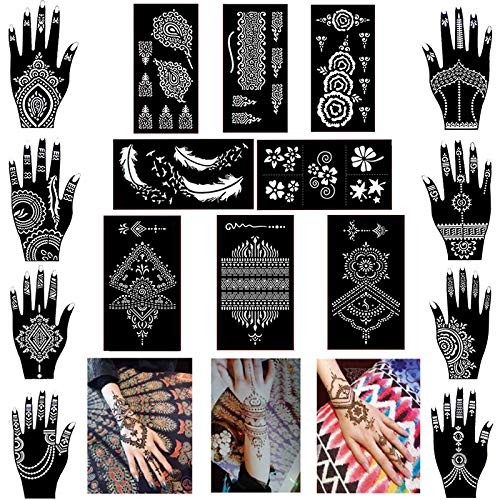 Pack of 16 Sheets Henna Tattoo Stencil/Templates Temporary Tattoo Kit,Indian Arabian Self Adhesive Tattoo Sticker for Hand Body ()