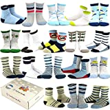 TeeHee Kids Boys Fashion Variety Cotton Crew 18 Pair Pack Gift Box (9-10Y, Vintage)