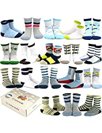 TeeHee (Naartjie) Kids Boys Fashion Variety Cotton Crew 18 Pair Pack Gift Box