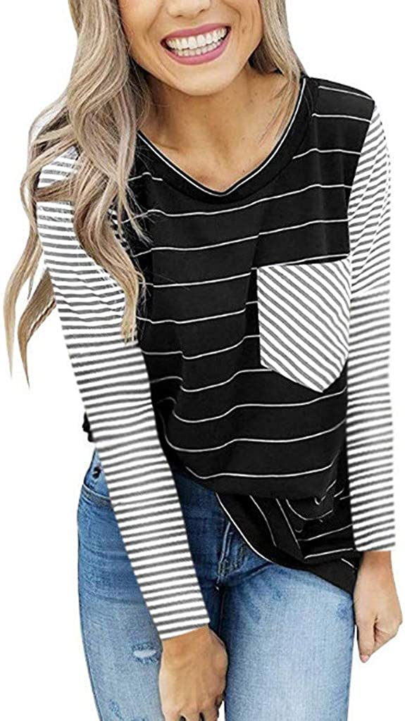 Short Long Sleeves T Shirts for Womens Striped Cotton Casual Shirts with Contrast Color KOSSLY Women Summer Autumn Tops