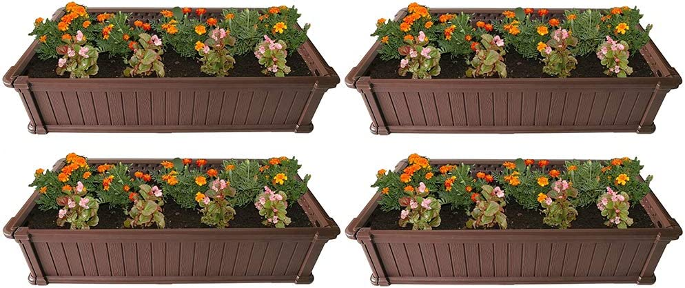 Modern Home Raised Garden Bed Kit - Stackable Modular Flower/Planter Kit (4'x2' Brown, Set of 4)