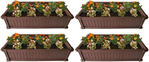 Modern Home Raised Garden Bed Kit - Stackable Modular Flower/Planter Kit (4'x2' Brown, Set of 4)