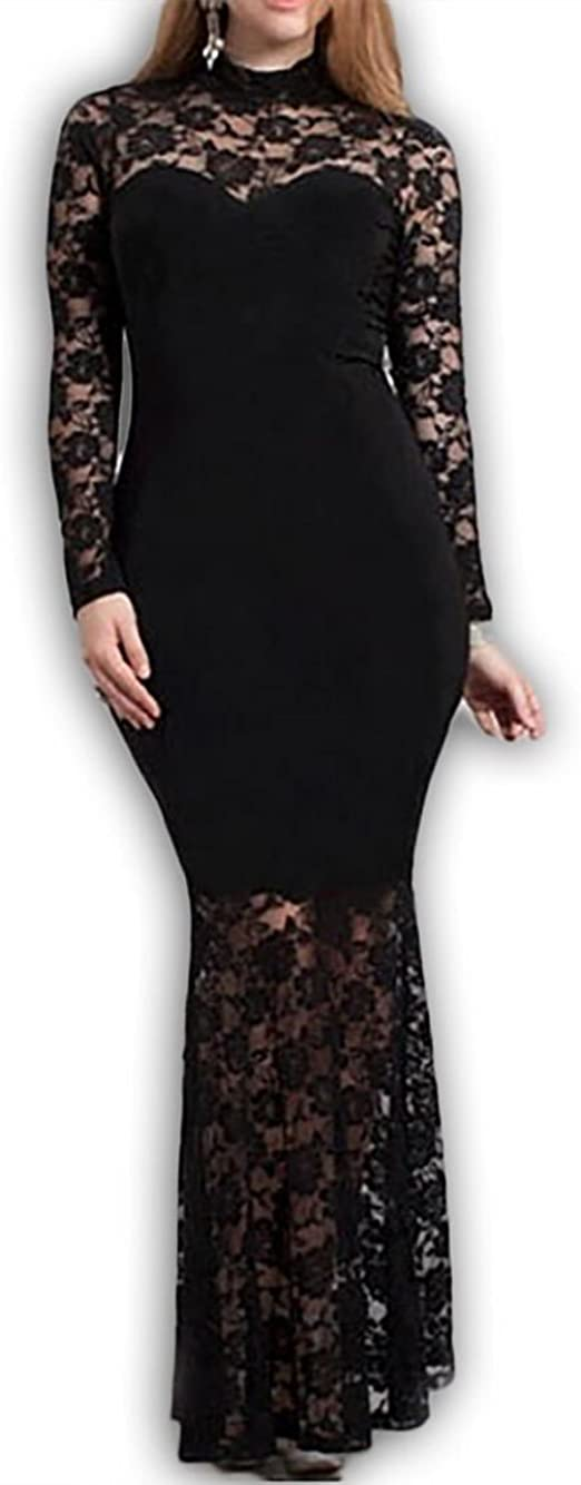 Plus Size Mermaid Lace Maxi Long Cocktail Dress