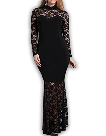 Red Dot Boutique 832 - Plus Size Mermaid Lace Maxi Long Cocktail Dress Gown - Black
