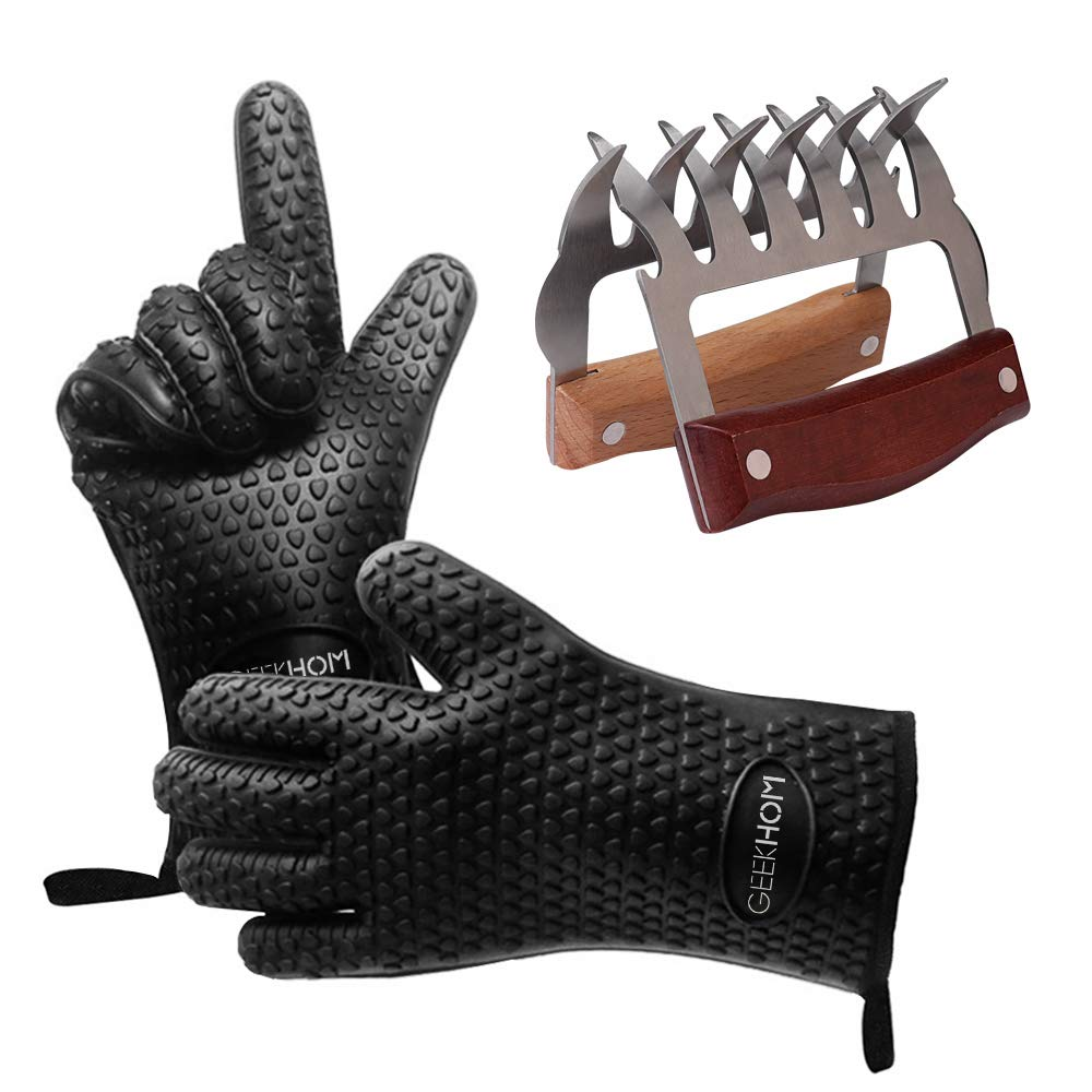 GEEKHOM Meat Claws and Heat Resistant Gloves 2-in-1, Metal Bear Claws Meat Shredder and Silicone BBQ Grilling Gloves Smoker Accessories Kitchen Gadgets Gifts for Men (Black) by GEEKHOM