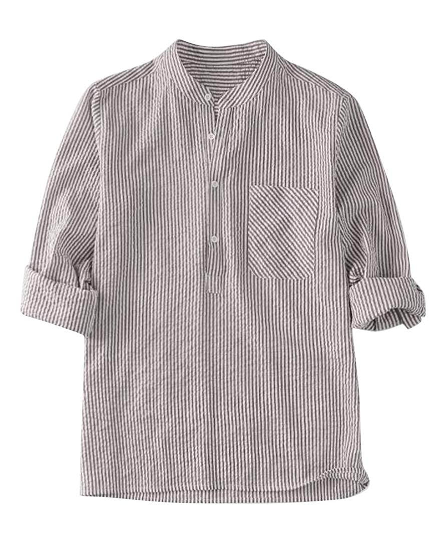Fubotevic Mens Stand Collar Stripe Plus Size Button Down Baggy Button Up Dress Work Shirt