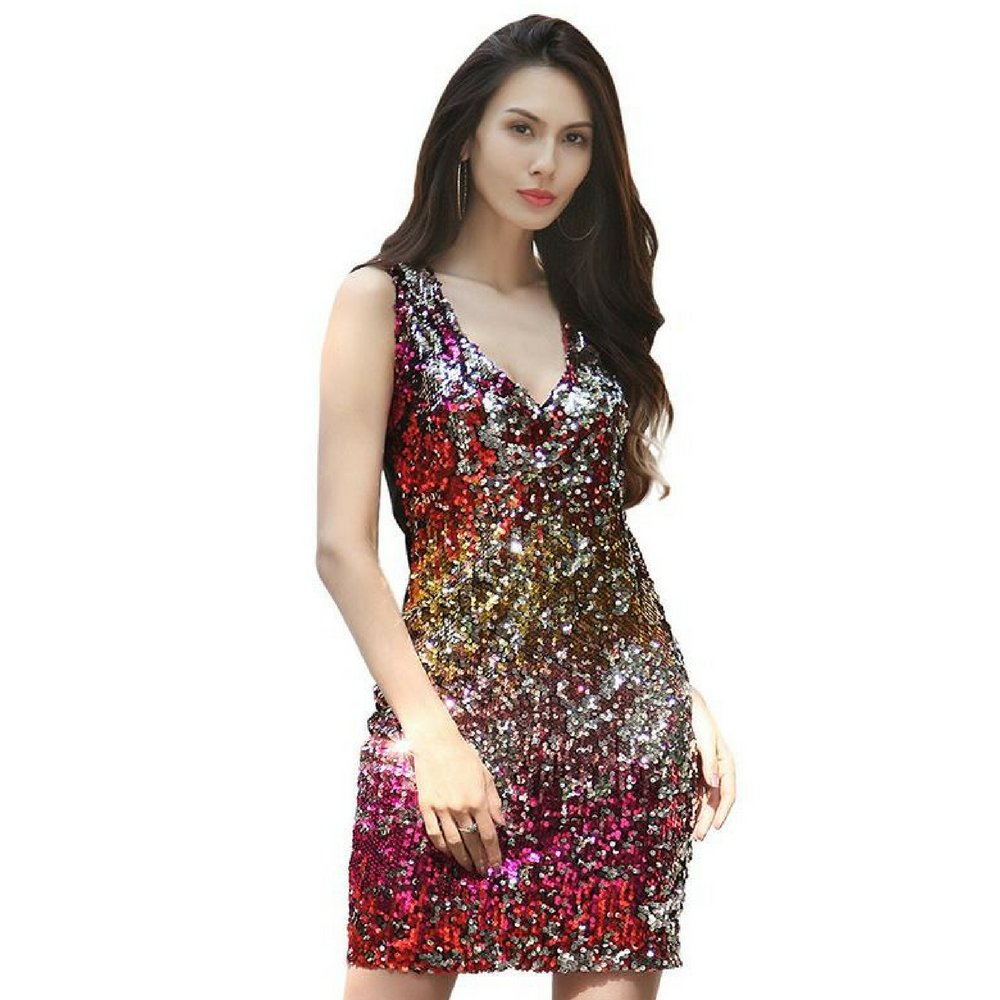 b781fbb1aa94 Shimmering sequins fully cover the front of this cocktail dress for a sleek  dazzling look that is perfect paired with your favorite heels for a night  out on ...