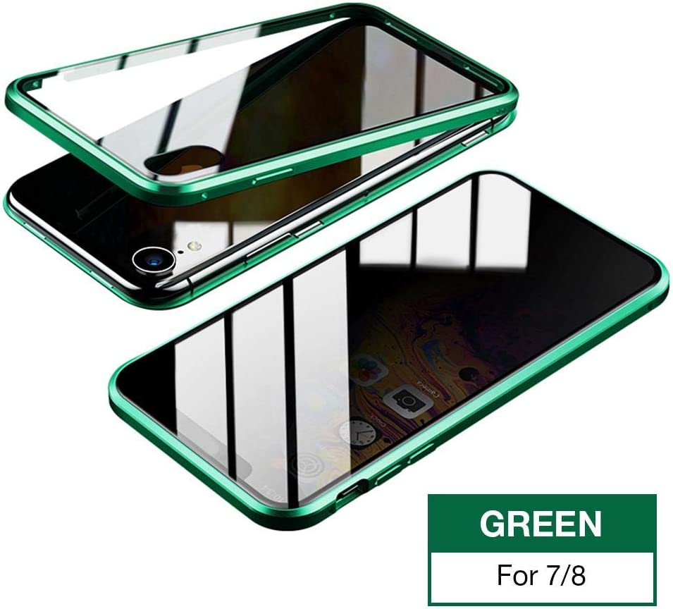Clear Double Sided Tempered Glass Thin Anti-Spy 360 Full Protective Phone Case for iPhone X//XS 5.8 Black Magnet Absorption Metal Bumper Frame Privacy Magnetic Case for iPhone X//XS