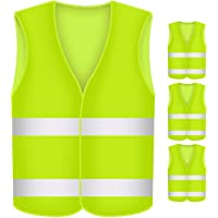 Giubbino Fluorescente alta visibilit/à Minleer Gilet Giallo riflettente 3 pezzi Adulto catarifrangente riflettente giubbino auto moto bici running sicurezza Giallo,