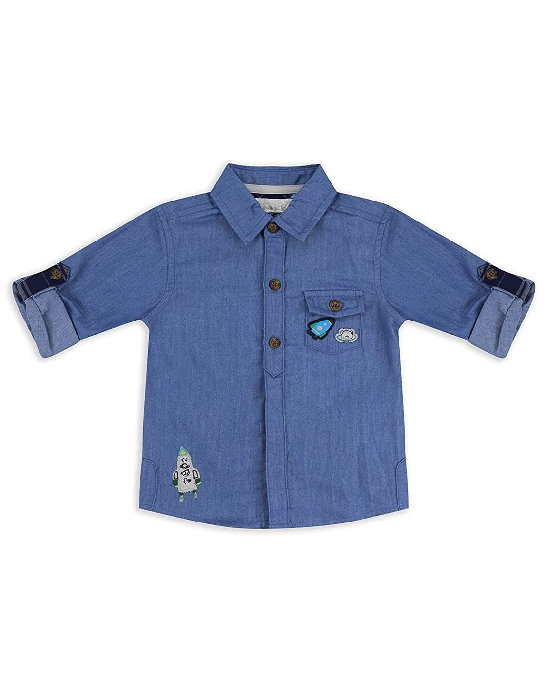 The Essential One Baby Kids Boys Long-Sleeve Chambray Shirt - Blue - EOT489