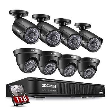 ZOSI HD-TVI 1080P Lite sistema de cámara de seguridad de vídeo 4 en 1