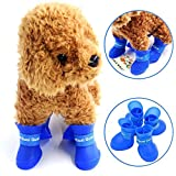 STAR-TOP Portable Little Pet Dog Puppy Rain Boots Candy Colors Snow Waterproof Rubber Shoes Booties (M Blue)