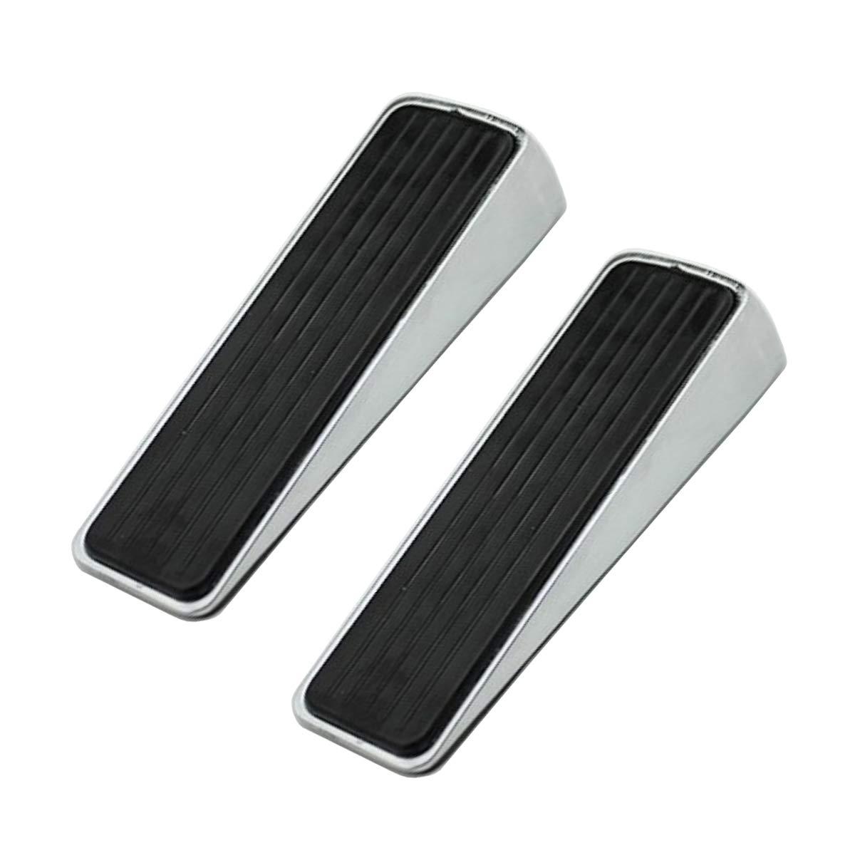 Nicedec 2-Pack Heavy Duty Stainless Steel Door Stoppers with Rubber Bank and Top, non-slip 1.18 Inch high Door Wedge, Door Stop