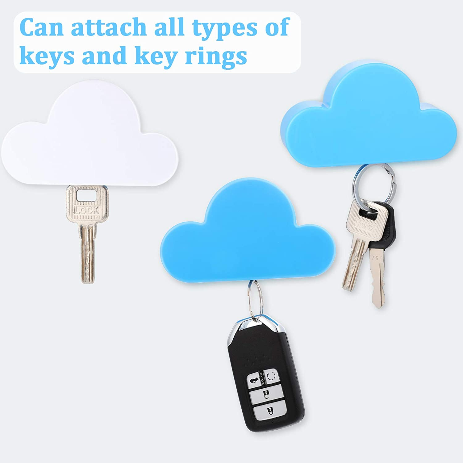 4 Pieces Cloud Magnetic Key Holder Cute Key Ring Holder Adhesive Wall Keychains Hooks Creative Key Chains Rack Organizer for Wall Door