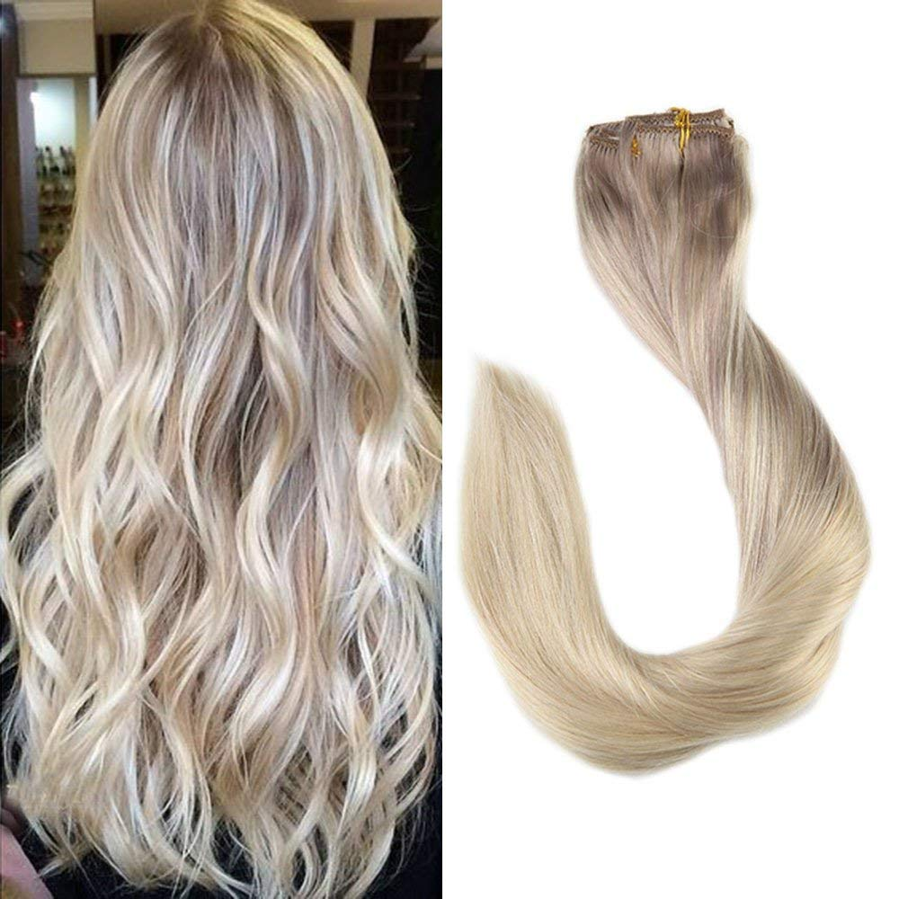 Full Shine 18 Inch Clip in Real Human Hair Extensions Clip in Balayage Remy Human Hair Color #18 Ash Blonde Fading to #22 and #60 Platinum Blonde Full Head Straight Extensions 9 Pcs 120 Gram Clip Ins by Full Shine