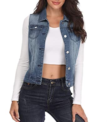 39a234aa4114ed MISS MOLY Womens Denim Vest Jeans Jackets Washed Sleeveless Ladies Buttoned  Waistcoats w 2 Chest Flap Pockets  Amazon.co.uk  Clothing