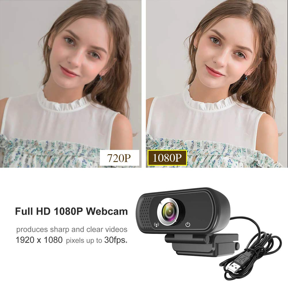 Desktop or Laptop USB Webcam with 110-Degree View Angle 1080P Webcam Live Streaming Computer Web Camera with Stereo Microphone HD Webcam for Video Calling Recording Conferencing for Computer Laptop Desktop etc Rotatable Clip with Tripod Mount Hole