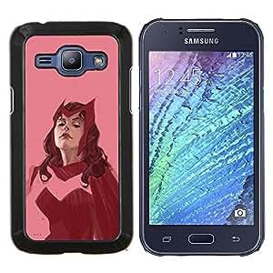 YiPhone /// Prima de resorte delgada de la cubierta del caso de Shell Armor - Mujer héroe rojo superhéroe época de color rosa - Samsung Galaxy J1 J100