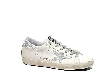 47bf23856370 Golden Goose Deluxe Brand Women s Superstar White Silver Glitter Tab  Sneakers G32WS590.E51 White Size
