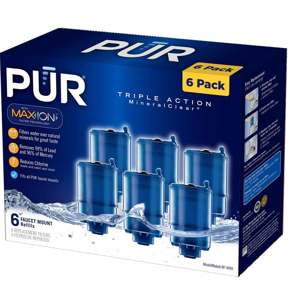 РUR Genuine RF-9999 Water Filter (6-Pack), Compatible with Pur RF-9999 Faucet Replacement Water Filter (Pack of 6)
