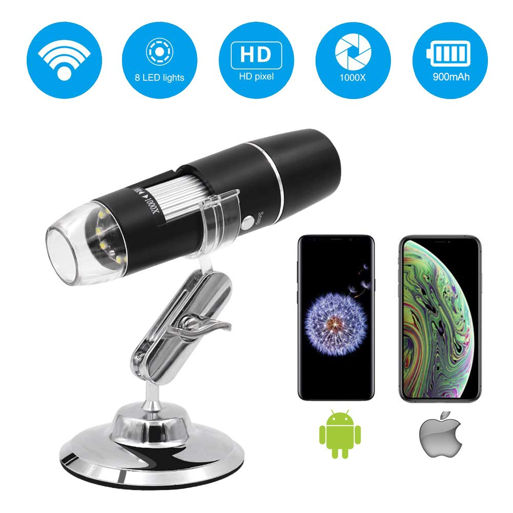 Wireless Digital Microscope,Leanking 0X-1000X Zoom Pocket Size Handheld Microscope for iPhone Android, iPad by Leanking