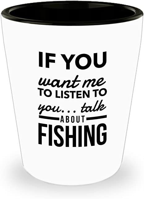 Man Cave Gift Funny Gift For Her or Him Tacklebox Shooter Glass Sarcastic Gift Lure CATCHIN/' FISH Not FEELINGS Ceramic Shot Glass