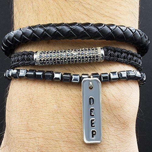 Charm Bracelets, Set of 3 Bracelets, Arm Candy, Stackable, Braided Genuine Leather Bracelet, Macrame Bracelet with Pavé Zircon, Hematite Bracelet with Silver Plated DEEP Charm, XS-XXL Sizes, Gift Box - Pave Candy