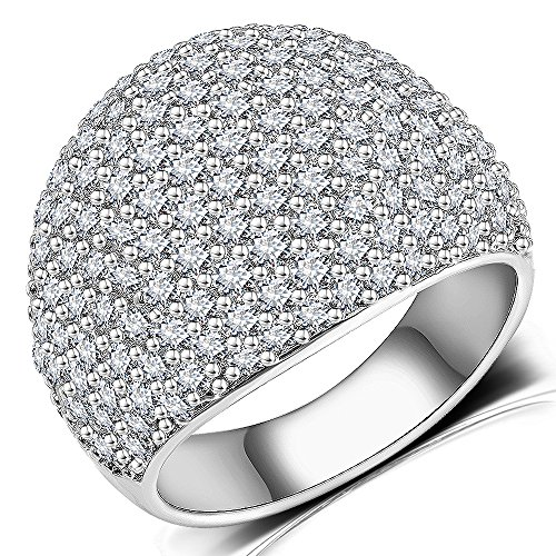 White Diamond Accent Dome Ring - Cluster Cubic Zirconia Paved Statement Wide Bands Size 5-11