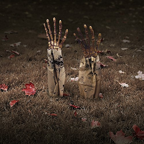 Halloween Zombie Hands Arms, Skeleton Stakes Lawn Stakes, Bloodied Scary Zombie Fingers Graveyard Prop Decoration Halloween Décor for Outdoor/Yard/Patio, (Halloween Discount Decorations)