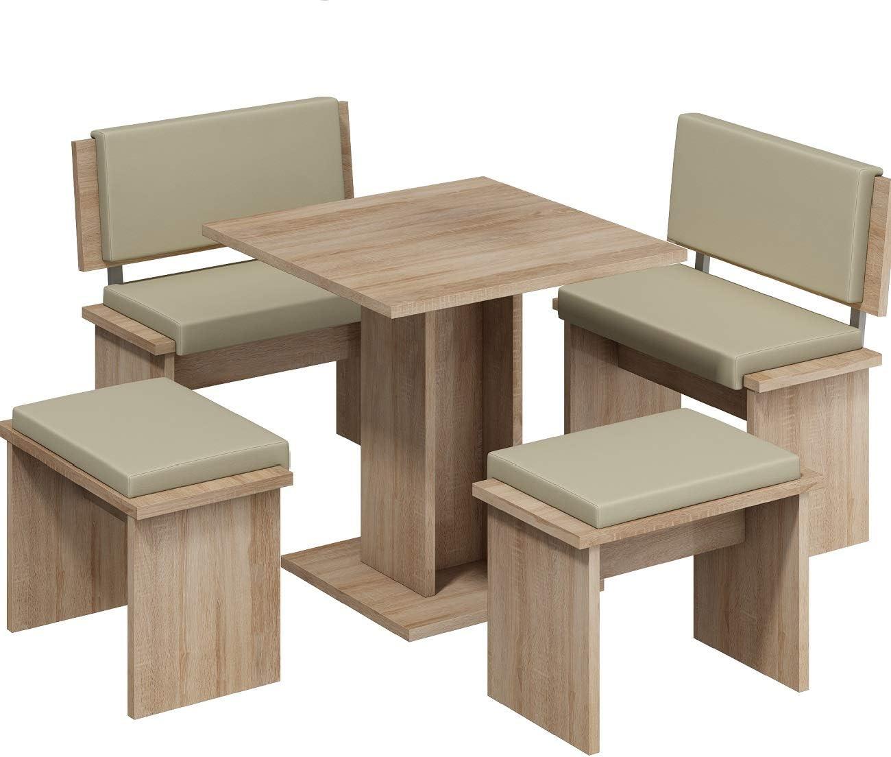 Furniture.Agency Multiple Finishes Eco-leather cushions Sonoma OAK/Biege