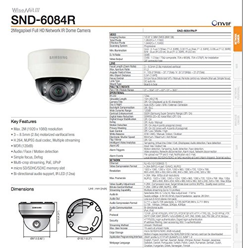 Samsung 2 MP 1080p Full HD Network IR Dome Camera (WiseNet III, 3-5.8mm D/N WDR) SND-6084R