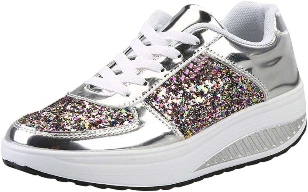 Zapatos de Mujer, Zapatos Planas de Mujer Calzado Moda Zapatillas de cuña para Mujer Zapato Deportivo para niñas Zapatos para Correr Señoras Lentejuelas Shake Shoes (Plata, 40)