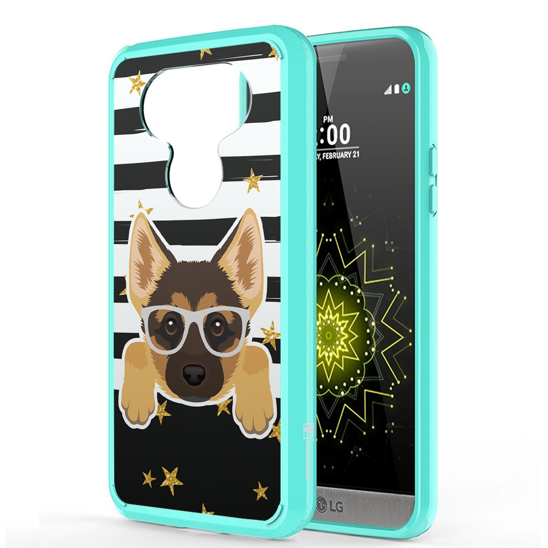 Moriko Case Compatible with LG G5 [Hybrid Slim Hard Back Shield Fused TPU Drop Protection Mint Green Case Cover] for LG G5 - (German Shepherd)