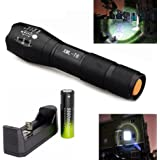 [Lightning Deals Price] Linternas, Mostsola 3500 Lumen 5 Modos Cree XML-T6 Alta Potencia LED Zoomable Linternas + Charger + 18650 Battery (Torch + 18650 Battery + Charger)