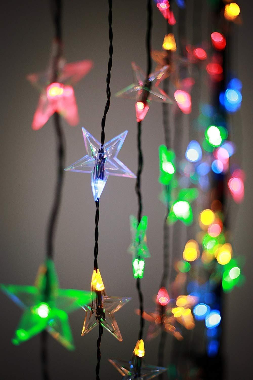 Innenräume Draußen Lichterketten Led Streifen Weihnachts Innenbe Außenbe Lauflichter Lichtschläuche Best Season Blautooth Vorhang, 60 LED, Verfärbung, Kunststoff, MultiFarbe, 1 x 200 x 80 cm