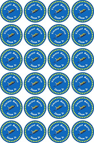 INDIGOS UG Name Sticker / Sticker - 40x40 mm - 110 - airplane - 24 pieces for children, school and kindergarten - pens, feather cap, rulers - individually printable - also for adults