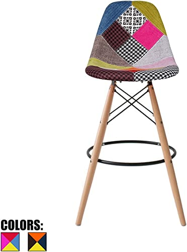 2xhome Eiffel Style Upholstered Modern Mid Century Armless With Back Bar Stool Height Counter Chair With Natural Wood Legs, 25 , Patchwork Fabric A,1 piece