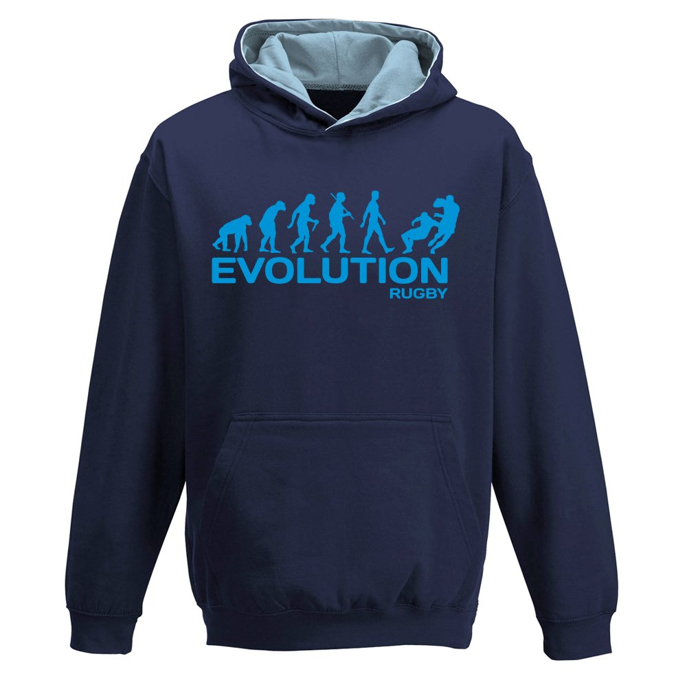 davesdisco Evolution Rugby, Two-Tone Hoody, Team Player, Union, League, Sports, Funny, Childrens Kids Boys Girls Hoodie
