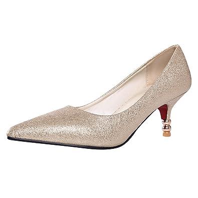 0c64531ba0d Latasa Women s Sexy Pointed Toe Kitten Heels Dress Pumps (4.5