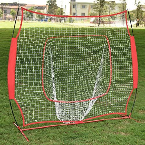 (GYMAX Softball Baseball Practice Net 7'×7' Training Net Baseball & Softball Hitting with Bow Frame & Carry Bag for Pitching, Batting (Red))