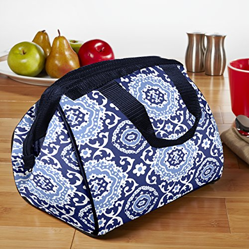 Fit & Fresh Charlotte Insulated Lunch Bag for Women / Girls with Ice Pack, Ideal for Work / School, Zips Closed, Navy Medallion Bloom