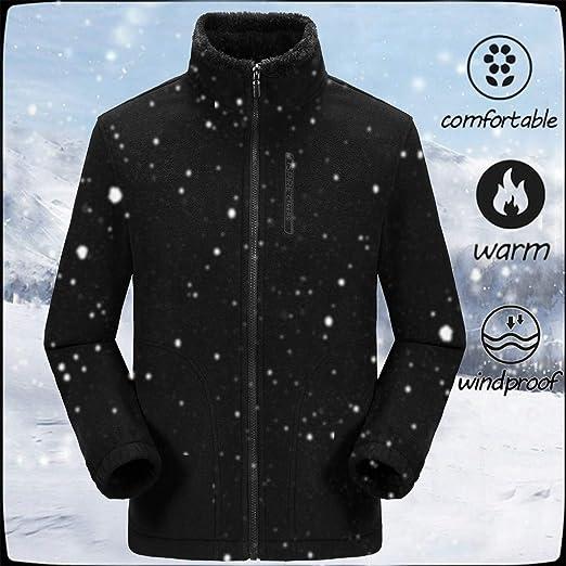 GenericMen Fleece Lined Coat Slim Fit Zip Front Stand Collar Thick Sweatshirt