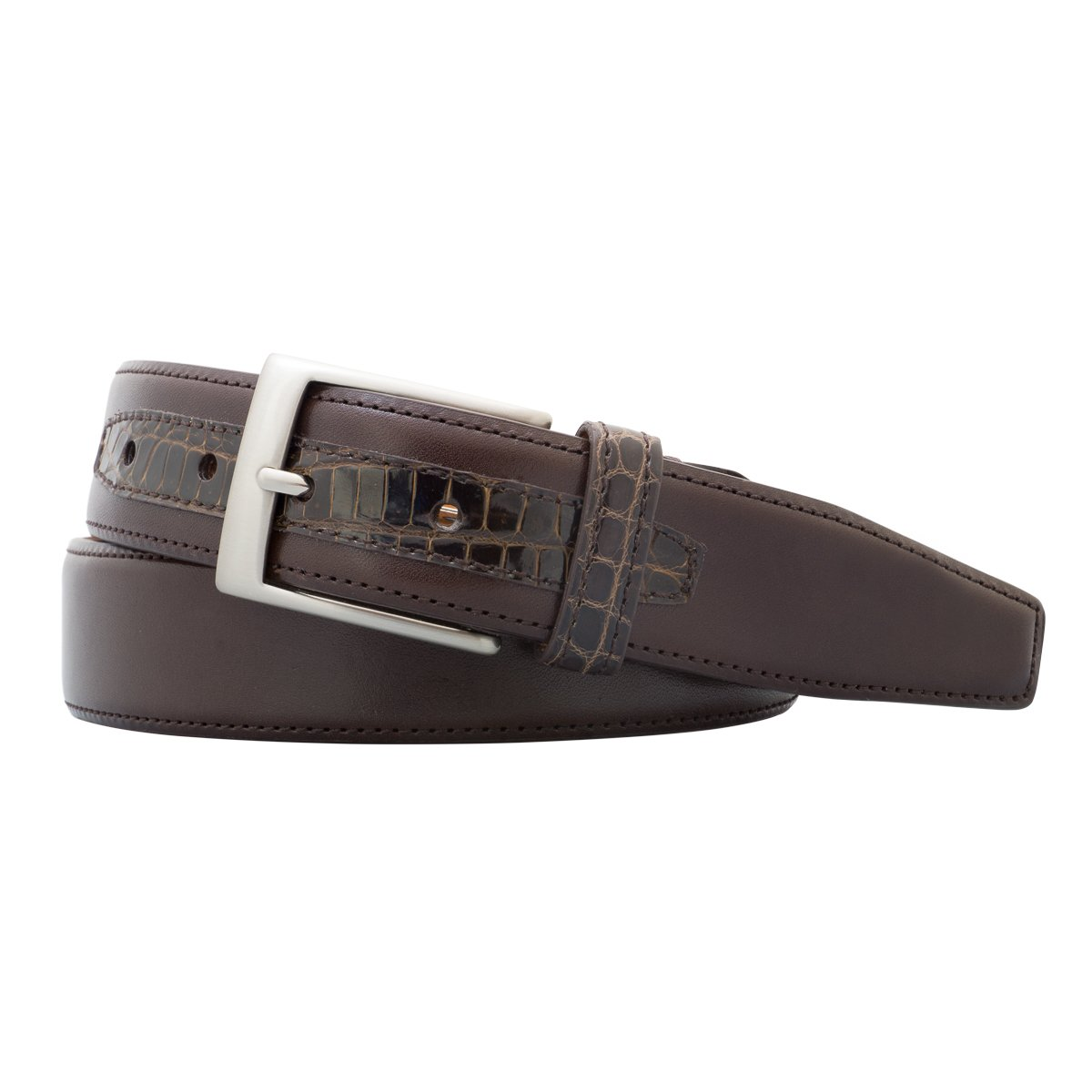 Monte Carlo Leather Belt with Genuine Crocodile Tab and Loop - Brown - 38'' Length