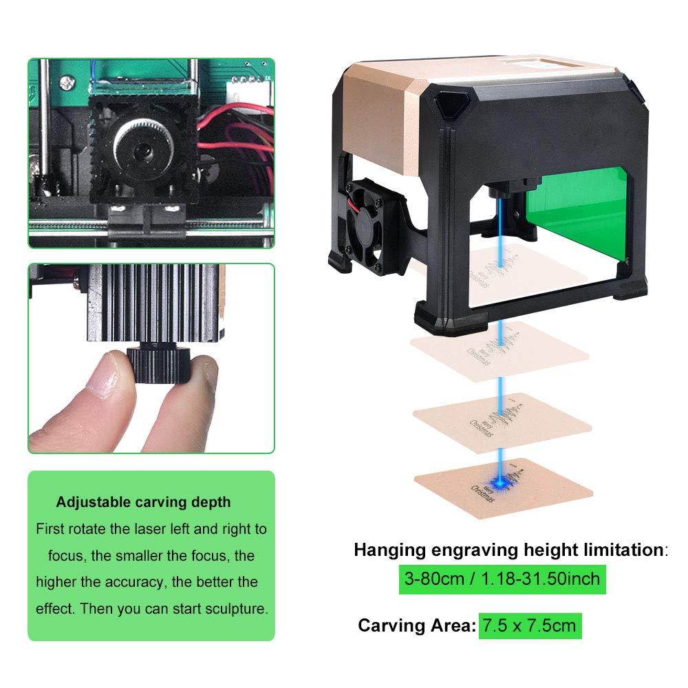 Suteck Laser Engraving Machine 3000MW Mini Laser Engraver Printer Working Area 7.5X7.5CM USB DIY Carving Wood Logo Desktop Laser Engraver by Suteck (Image #4)