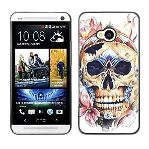 Shell-Star Arte & diseño plástico duro Fundas Cover Cubre Hard Case Cover para HTC One M7 ( Skull Hat Floral Spring Bones Death )