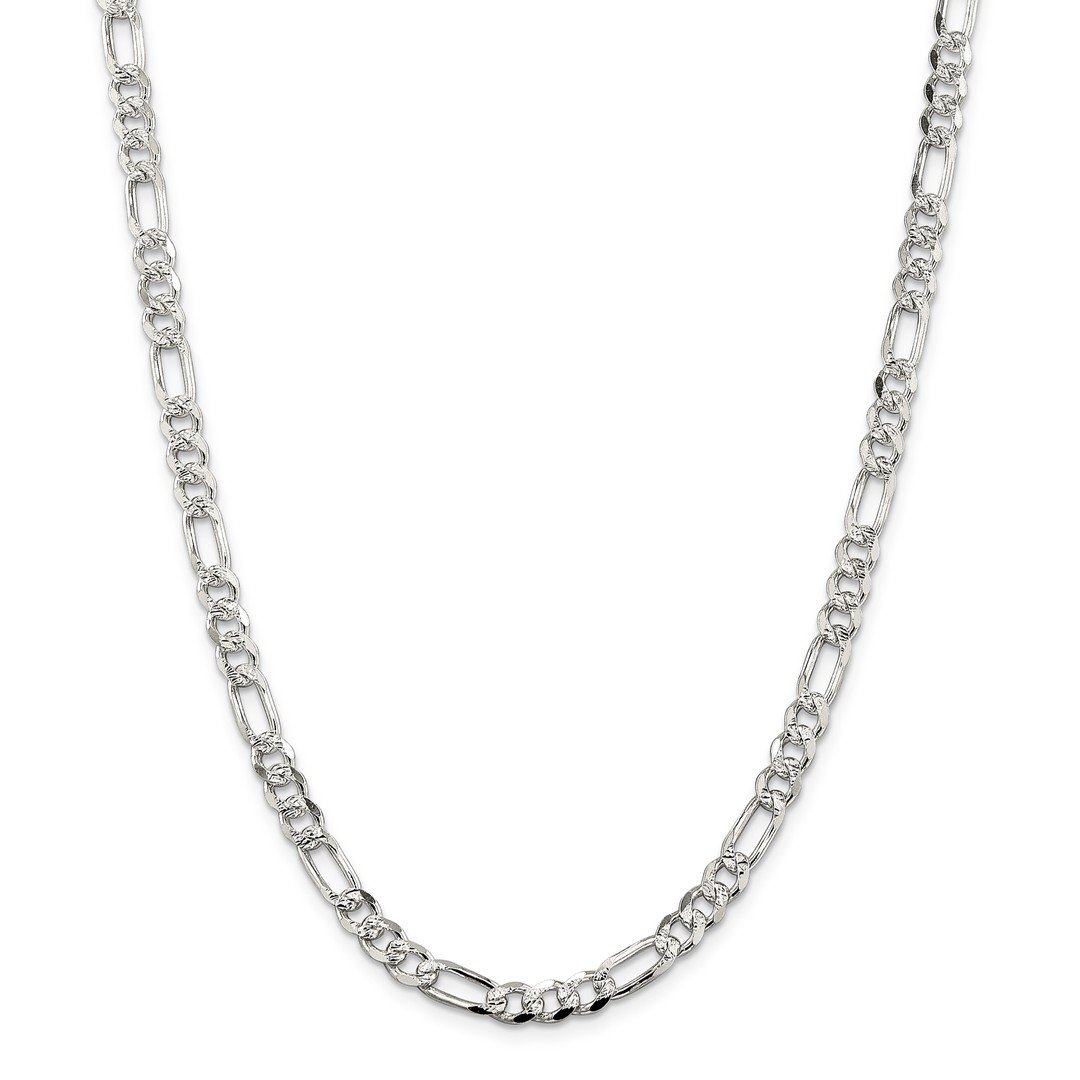 ICE CARATS 925 Sterling Silver 5.5mm Flat Link Figaro Necklace Chain Pave Pav? Fine Jewelry Gift Set For Women Heart