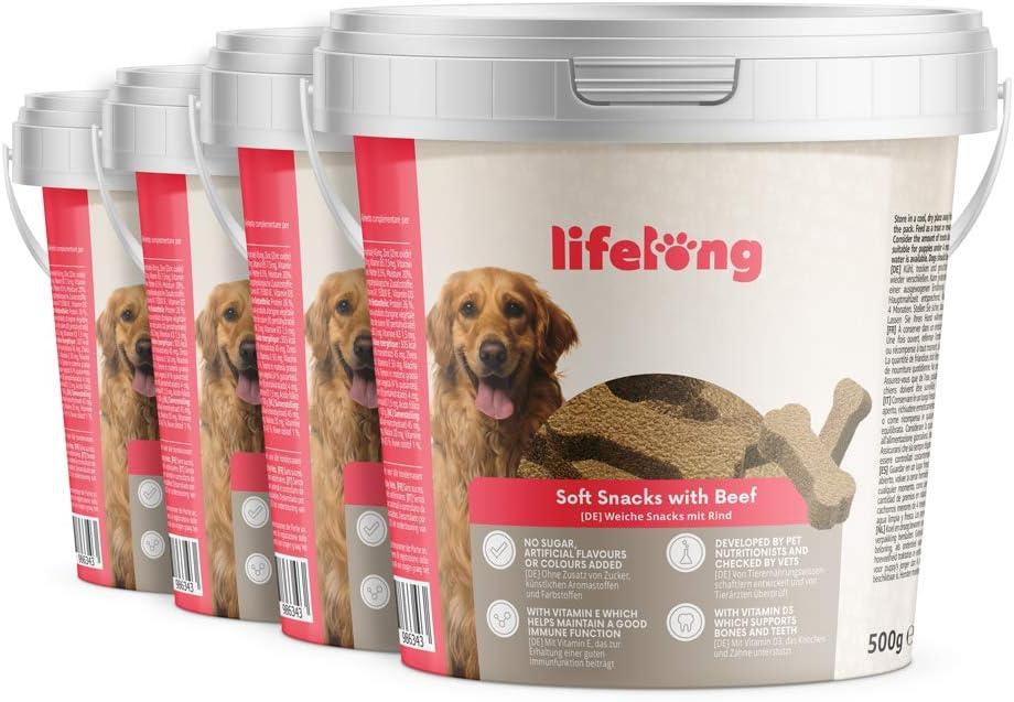 Marca Amazon - Lifelong - Treats para perros, ricos en proteínas, con vacuno (4 botes x 500gr)