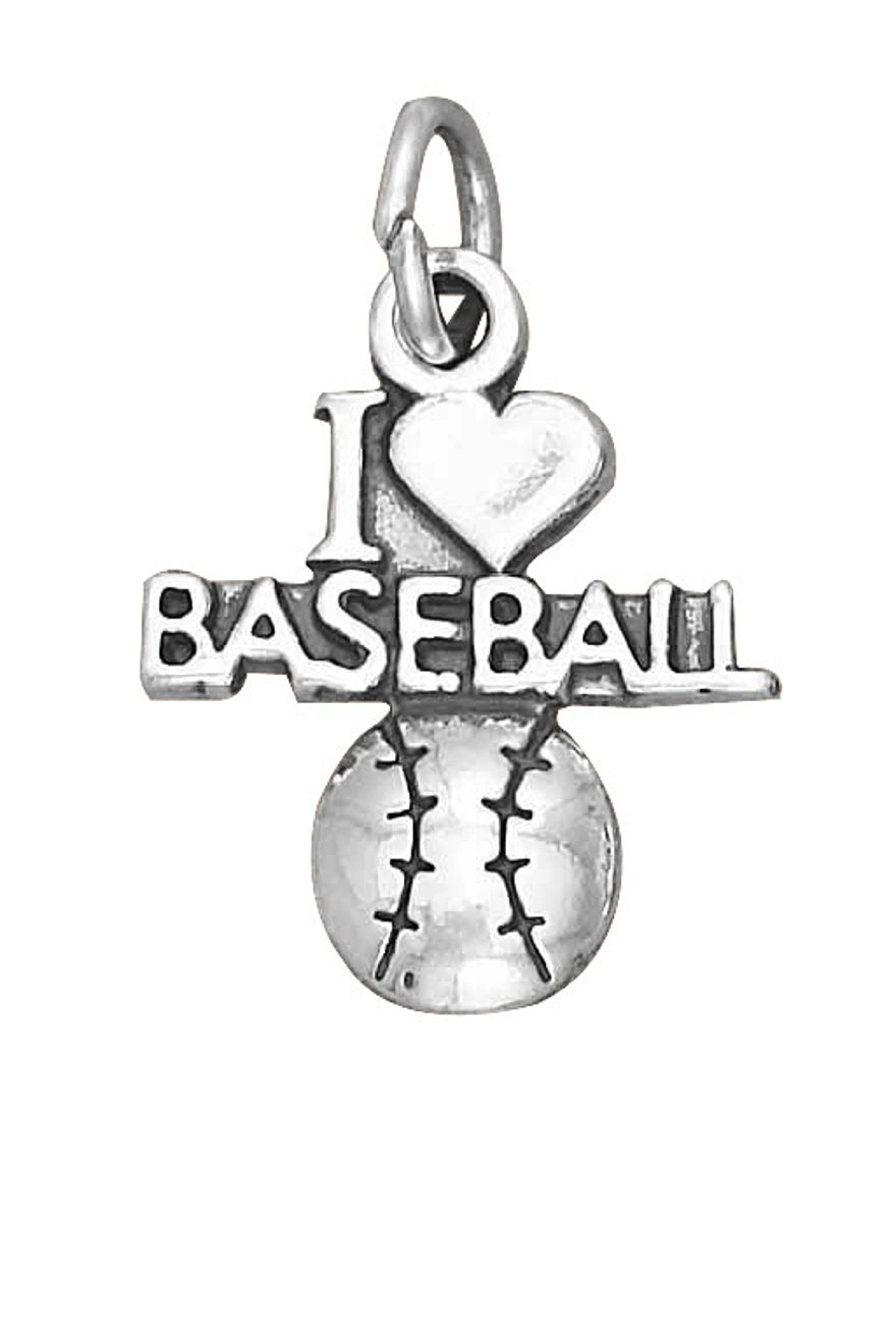 Sterling Silver 30'' Men's 1.5mm Box Chain ''I LOVE BASEBALL'' Baseball Sports Pendant Necklace