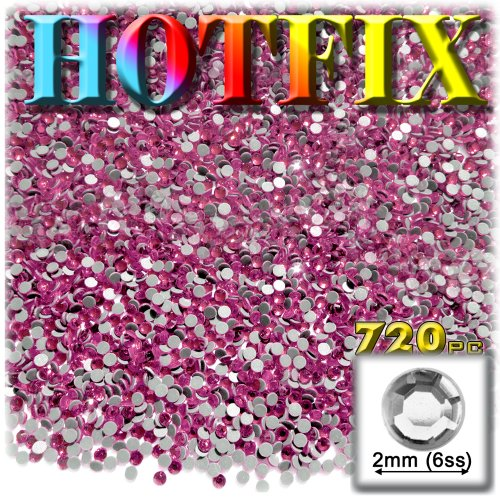 The Crafts Outlet DMC HOTFIX Iron on Superior Quality Glass 720-Piece Round Rhinestone Embellishment 2mm Hot Pink/Rose